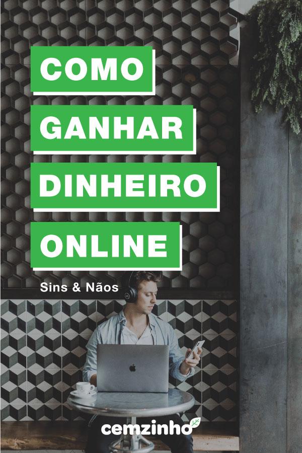 Imagem de uma pessoa no computador e palavras ensinando como ganhar dinheiro online