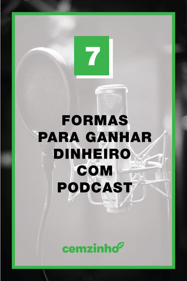 Imagem de um microfone e com os dizeres: 7 formas para ganhar com podcast